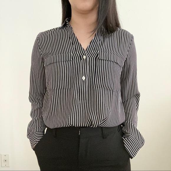 Ann Taylor | Black and White Stripes Blouse